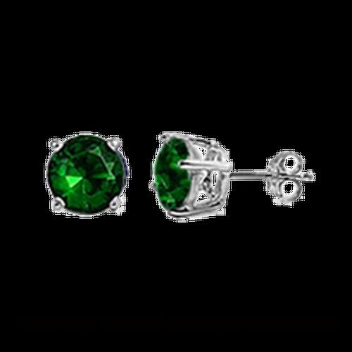 CZ Stud Earring (5 mm) - Emerald - Sterling Silver