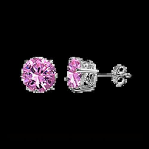 CZ Stud Earring (5 mm) - Pink - Sterling Silver
