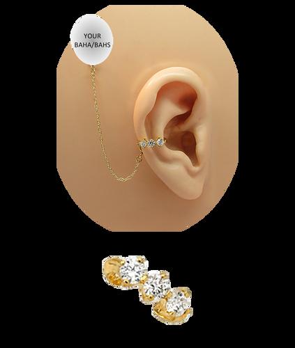 """""""3 CZ Band"""" Ear Cuff - 14K Yellow Gold"""