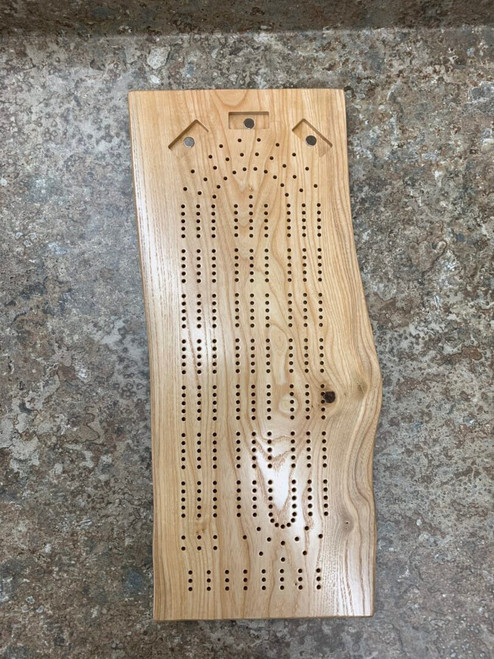 Three Player Live Edge Ash Cribbage Board