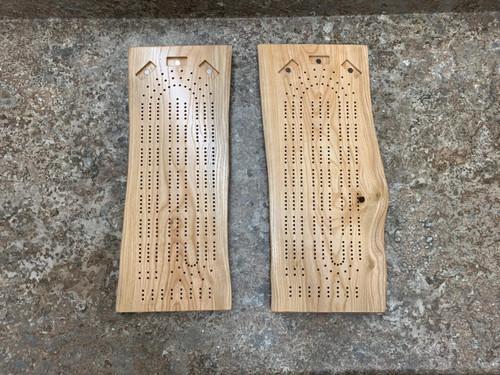Three Player Live Edge Ash Cribbage Board