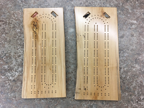 Two Player Live Edge Birch Cribbage Board