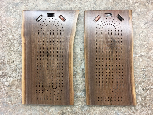 Three Player Live Edge Walnut Cribbage Board