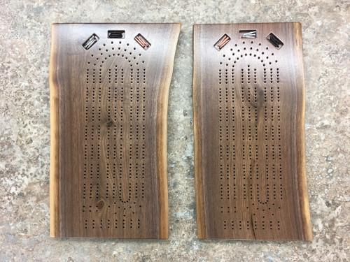 Three Player Live Edge Walnut Cribbage Board