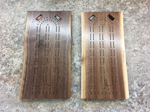 Two Player Live Edge Walnut Cribbage Board