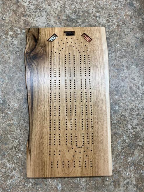 Three Player Live Edge Butternut Cribbage Board