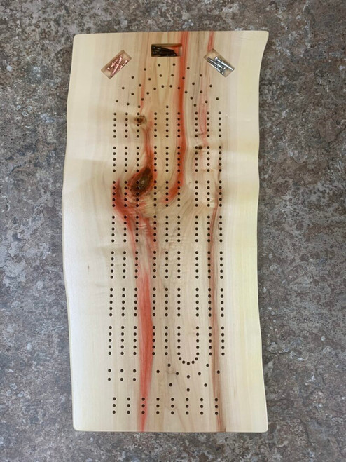 Three Player Live Edge Box Elder Cribbage Board