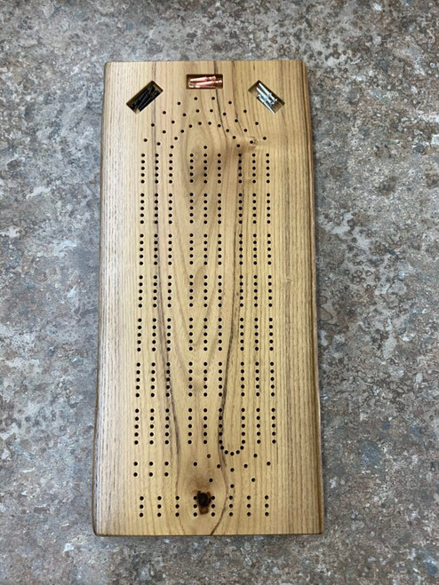 Three Player Live Edge Black Locust Cribbage Board