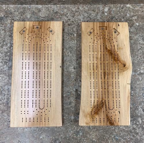 Three Player Live Edge Birch Cribbage Board