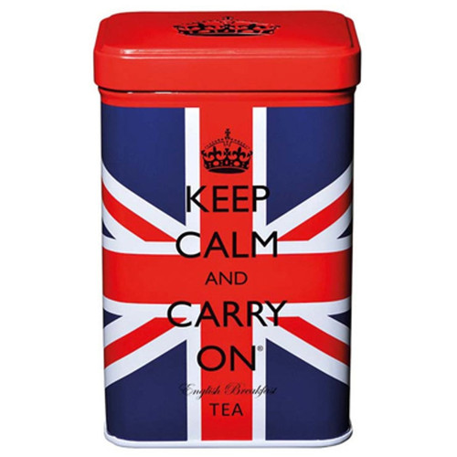 Keep Calm and Carry On English Breakfast Tea Bags in Union Jack Tin