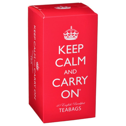 Keep Calm and Carry On English Breakfast Tea Bags in Red Carton