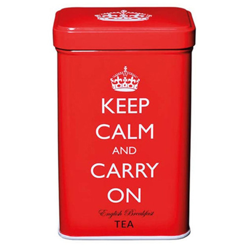 Keep Calm and Carry On English Breakfast Tea Bags in Red Tin