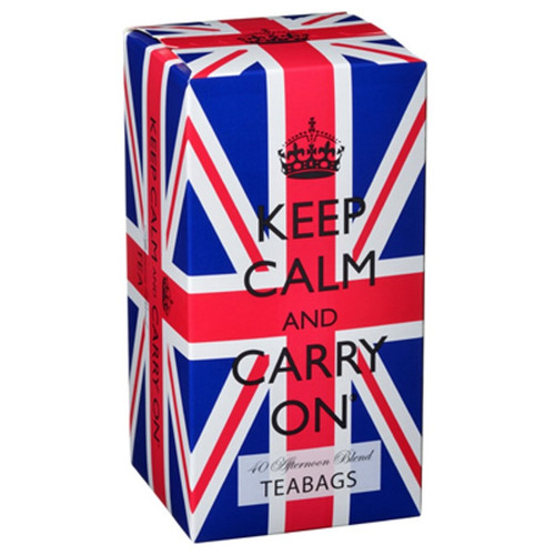 Keep Calm and Carry On Afternoon Blend Tea Bags in Union Jack Carton