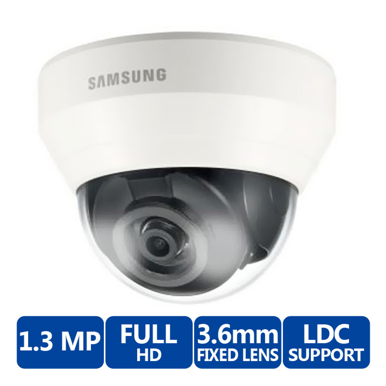 Samsung WiseNet SND-L5013 1.3MP HD Network PoE Dome Camera with 3.6mm Lens