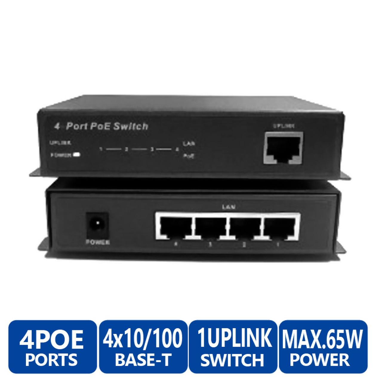 LTS POE-SW541E 4 Port POE Network Ethernet Switch - 65-Watt Max POE Budget