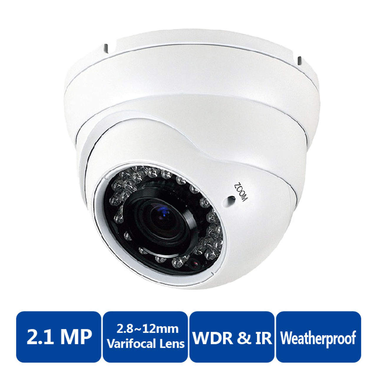 2.1MP HDTVI 2.8mm Fixed Dome Cctv Surveillance Security Camera IP67 1080P TVI