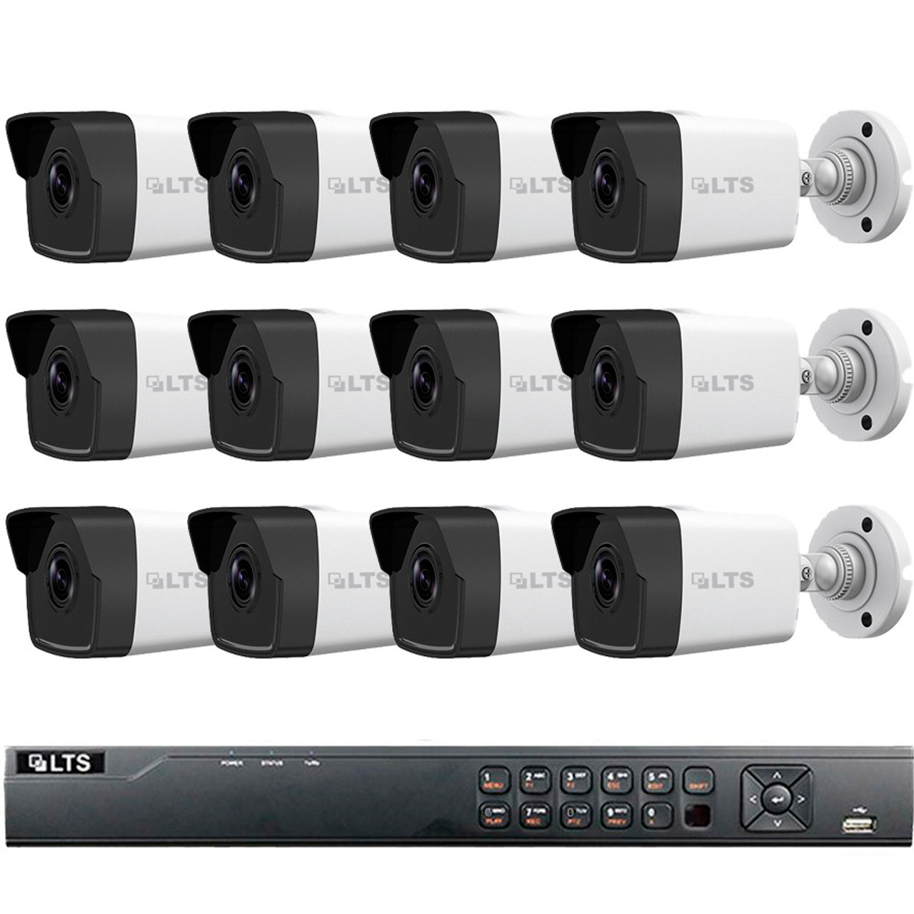 12-Camera Bullet IP Security Camera System 1080p 2MP - 100ft  Night  Visibility, Plug and Play Setup, True WDR, 3TB Video Storage, LTN8712-B2W