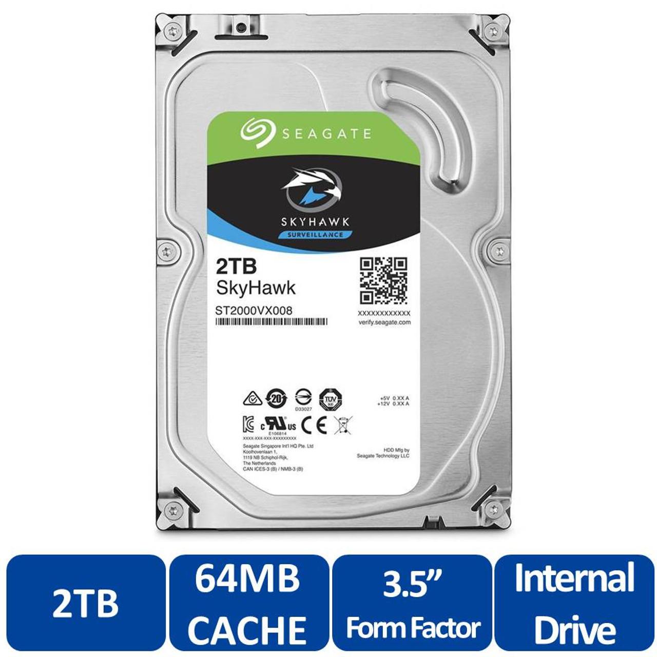"ST2000VX008 SATA 6Gb//s 64MB Cache 3.5/"" Seagate SkyHawk 2TB Surveillance HD"