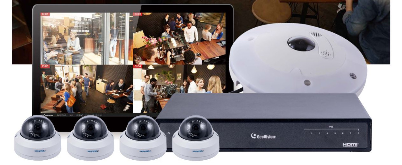 Geovision 88-SN8FE3-ADR 8-Channel NVR 5x Camera IP Security Camera System