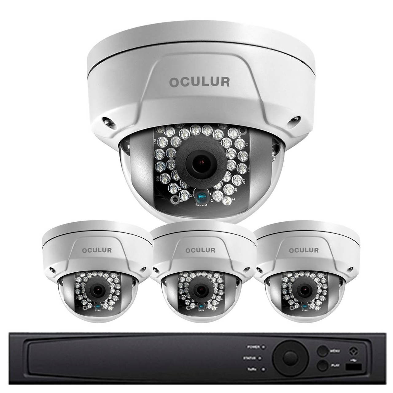 Oculur O4X2DFW4 Wireless Dome IP Security Camera System - 4 Camera, Outdoor,  Full HD 1080p, 1TB Storage, Night Vision