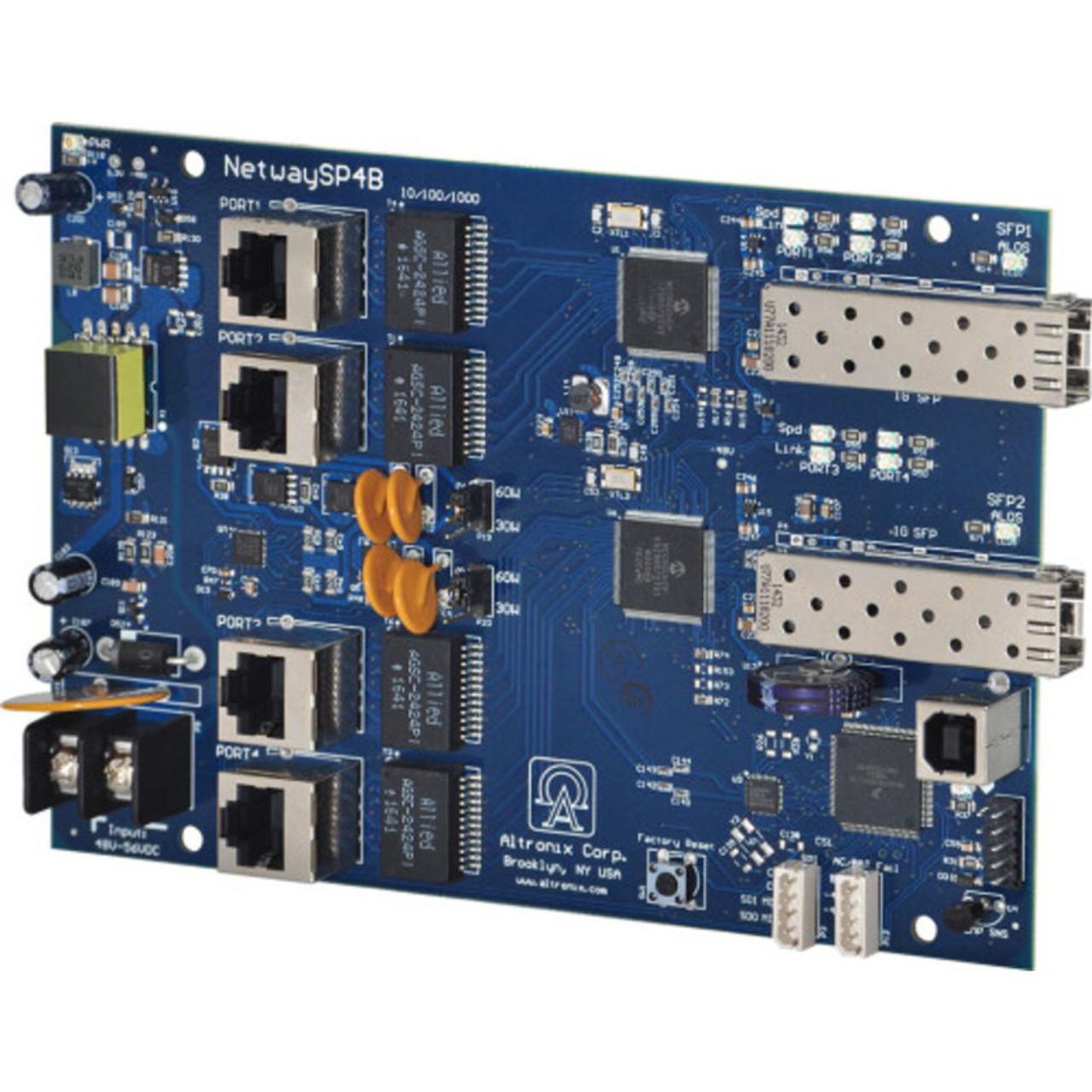 Altronix NetWaySP4B Dual 1G Fiber SFP - 4x 10/100/1000 PoE/PoE+