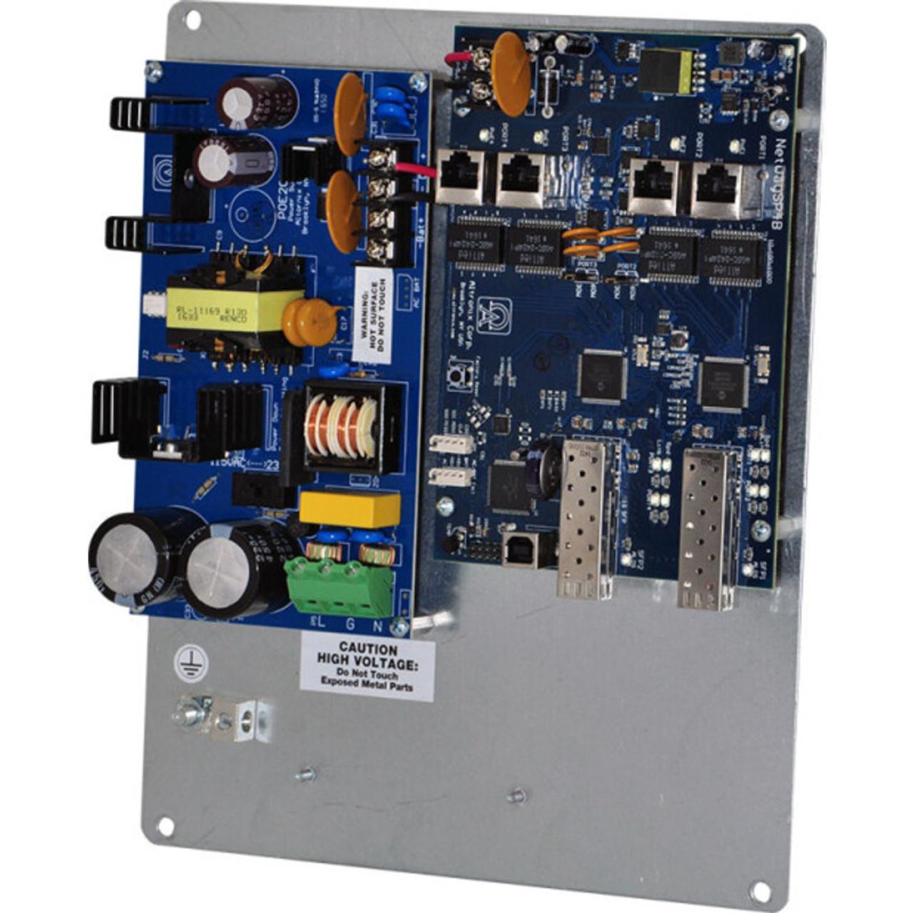 Altronix NetWaySP4PL PoE Switch - Dual 1G Fiber SFP 4 port