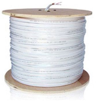 CCTV Cable - 1000ft RG59 182 Siamese Video Power Dual Cable (White)