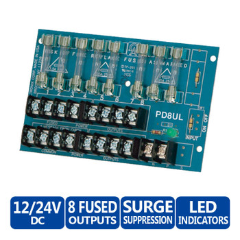 Altronix PD8UL Eight (8) Fused Outputs Power Distribution Module - Up to 28VAC/28VDC