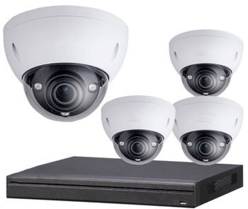 4-Camera 4K Indoor/Outdoor Motorized Dome IP Security Camera System