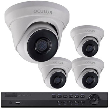 Small Business Security Camera System - 4 x Turret Dome 4MP IP Security Cameras, Full HD Resolution, 100' Night Vision, Wide Angle View, 2-year Warranty