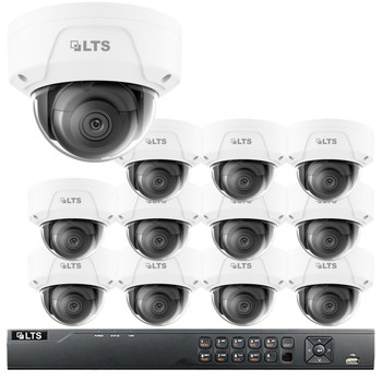 12-Camera 4MP Dome IP Security Camera System - 2.8mm Fixed Lens, 100ft Night Visibility, True WDR, 3TB of Storage, LTN8712-D4W