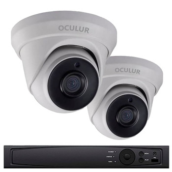 2-Camera 1080p Full HD Turret CCTV Security Camera System - 2MP, 2.8mm Lens, True WDR 120dB, Weatherproof, 1TB Pre-Installed, LTD0422DK-1TB
