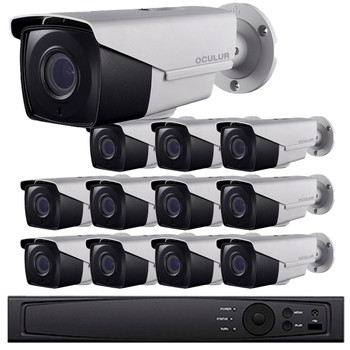 12-Camera 2MP HD CCTV Bullet Security Camera System - 16 Channel DVR, 2.8~12mm Motorized Lens, Night Vision, Weatherproof, 2TB Pre-installed