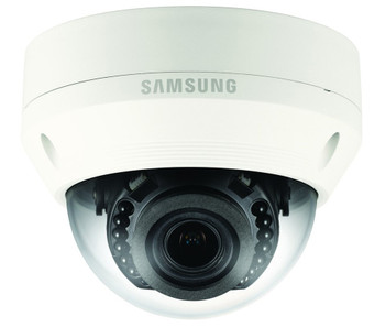 "Samsung QNV-7080R 4MP IR H.265 Outdoor Dome IP Security Camera - 2.8~12mm Motorized Lens, 1/3"" CMOS"