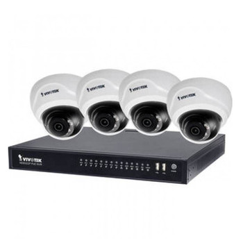 Vivotek ND8322P-2TB-4FD3A 8-Channel 1080p NVR with 2TB HDD and 4 1080p Outdoor Dome IP Security Cameras