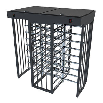 Full Height Bi-Directional Turnstile TS-200-D - Painted Steel Chassis - Stainless Steel Arms - Dual Lane