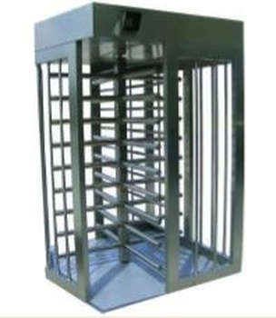 Full Height Bi-Directional Turnstile TS-100-S - Painted Stainless Steel Chassis Stainless Steel Arms - Single Lane
