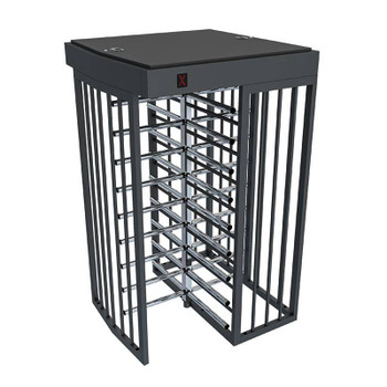 Full Height Bi-Directional Turnstile TS-100-S - Painted Steel Chassis - Stainless Steel Arms - Single Lane