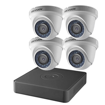 Hikvision T7104Q1TA 4-Channel 1TB DVR 4x 2MP IR Turret Cameras with 1TB CCTV Analog Security Camera System