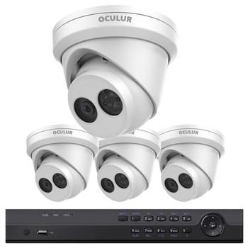 4-Camera 4K Turret IP Security Camera System - 8MP IR H.265+ Cameras, 4-Ch NVR, 2TB HDD Installed