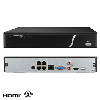 Speco N4NXL4TB 4 Channel 4TB NVR Network Video Recorder - With Built-in PoE+ Switch