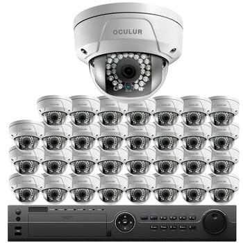 Oculur 32-Camera 4MP Dome IP Security Camera System SO32C4DF - 4K 32Ch NVR, 4TB HD Storage