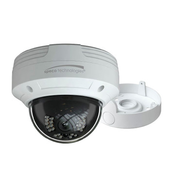Speco O4VLD5 4MP IR H.265 Indoor/Outdoor Dome IP Security Camera - Speco Cloud Enabled, with Junction Box