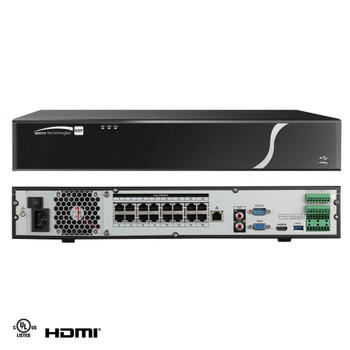 Speco N16NXP12TB 16 Channel 12TB Pre-installed HDD H.265 4K NVR Network Video Recorder with Built-in PoE+ Switch