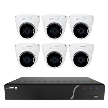 Speco ZIPK8T2 6-Camera Outdoor Turret IP Security Camera System - 5MP, H.265, Night Vision, 8CH NVR, 2TB Storage