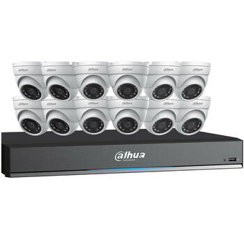 Dahua C7165E124 HD-CVI Security System, 12 Camera, Outdoor, 5MP, 4TB Storage, Night Vision