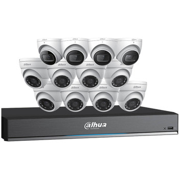 Dahua C7168E124 HD-CVI Security System, 12 Camera, Outdoor, 5MP+8MP, 4TB Storage, Night Vision