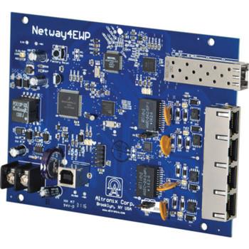 Altronix NetWay4EB Single 1G Fiber SFP - 4 port 10/100 PoE/PoE+ configurable for 2x 60W Hi-PoE; Hardened