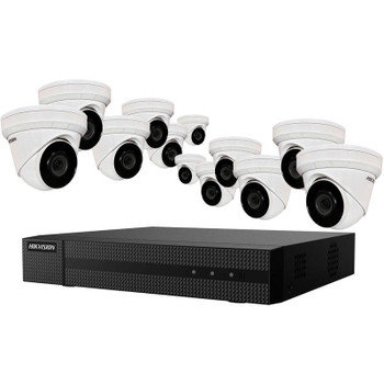 Hikvision EKI-K164T412 12-Camera IP Security Camera System, 4MP, Outdoor, Turret, 16 Channel NVR
