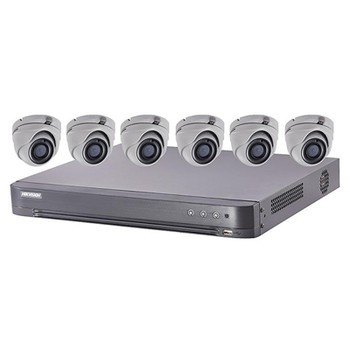 Hikvision T7208U2TA6 6x Cameras HD CCTV Security Camera System with 8-Channel 2TB DVR, 5MP IR Turret Cameras